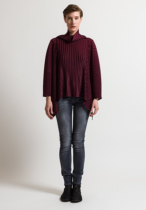 Issey Miyake Pleats Please October Turtleneck Poncho in Berry