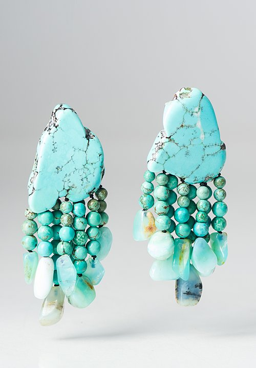 Monies UNIQUE Turquoise and Peruvian Opal Dangle Earrings