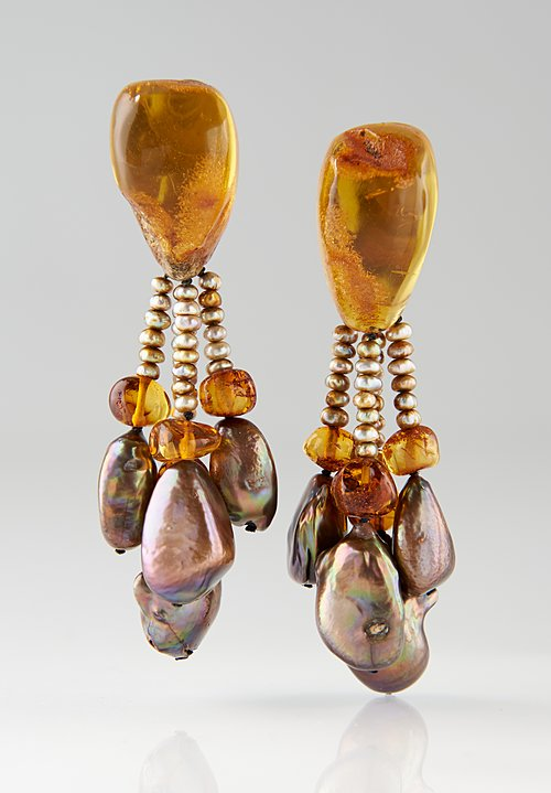 Monies UNIQUE Amber, Pearl 4 Dangle Clip On Earrings