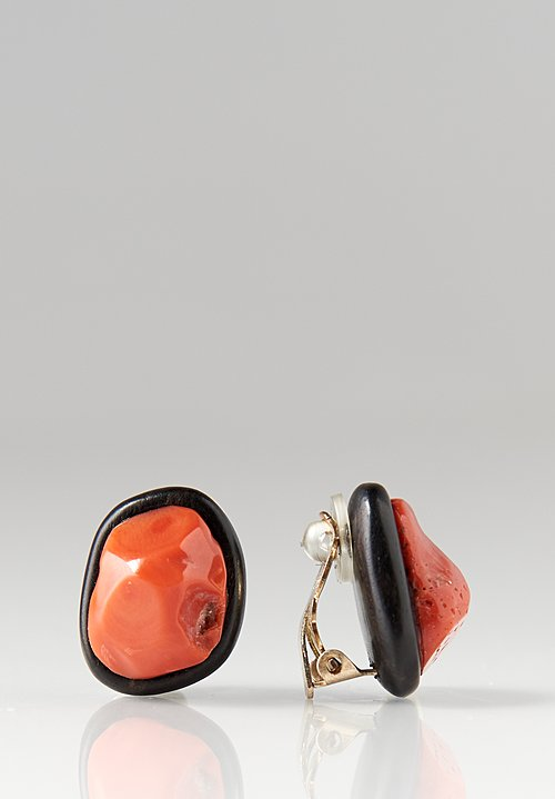 Monies UNIQUE Italian Coral & Ebony Clip On Earrings