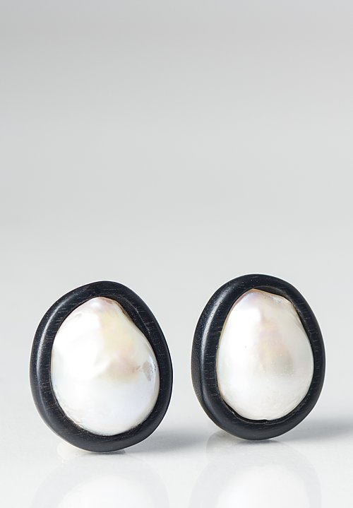Monies UNIQUE Baroque Pearl and Ebony Clip On Earrings