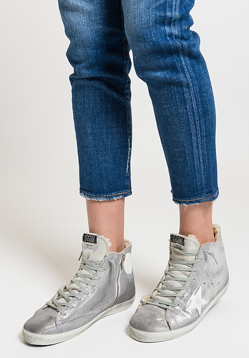 Golden Goose Glitter Francy Sneakers in Silver/ White