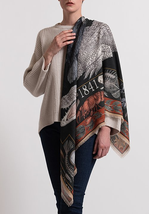 Sabina Savage Wool/ Silk Alligator's Empire Scarf in Laurel/ Canvas