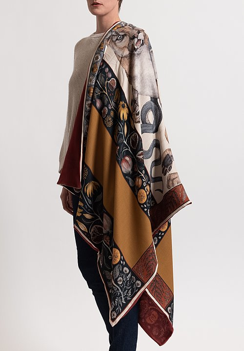 Sabina Savage Cashmere Backed Cougar & Serpent Scarf in Parchment/ Ink