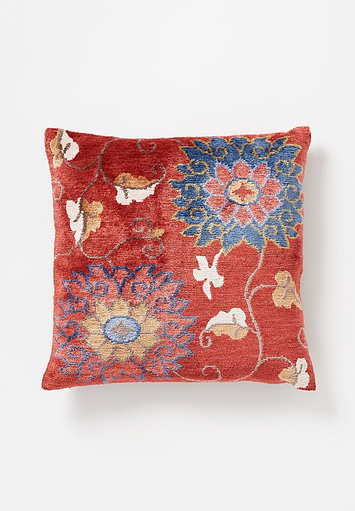 Tibet Home Hand Knotted & Woven Square Pillow in Pema Red