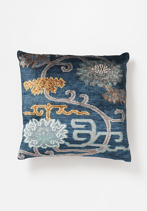 Tibet Home Hand Knotted & Woven Square Pillow in Chenden Blue