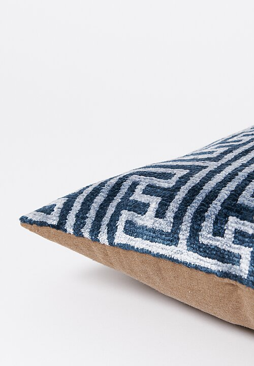 Tibet Home Hand Knotted & Woven Lumbar Pillow in Yangdu Blue