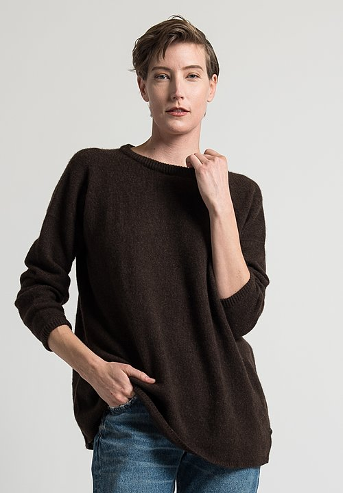 Kaval Pullover Sweater in Dark Brown