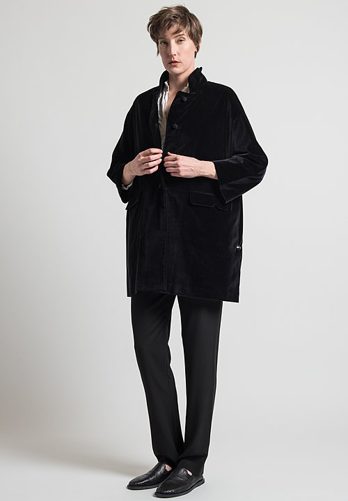 Daniela Gregis Velvet Papavero Melograno Coat in Black