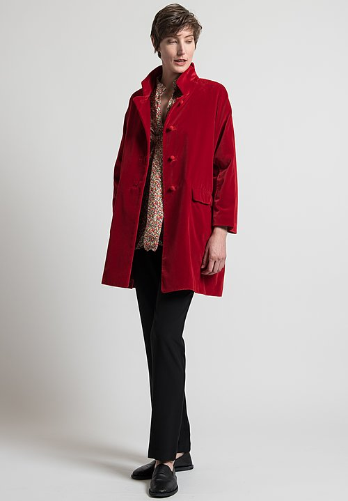 Daniela Gregis Velvet Papavero Melograno Coat in Red