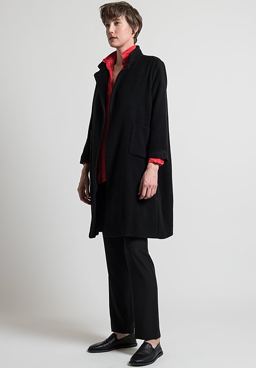 Daniela Gregis Lungo Melograno Coat in Black