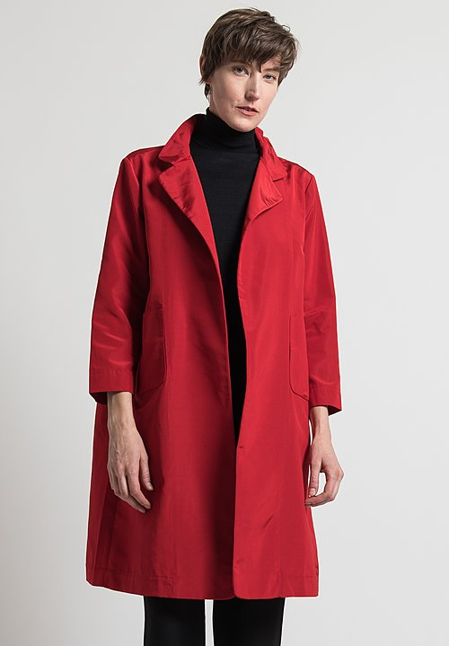 Daniela Gregis Silk Lungo Melograno Jacket in Dark Red