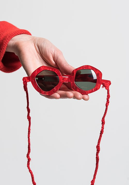 Daniela Gregis Small Melagrana Glasses in Red Glitter