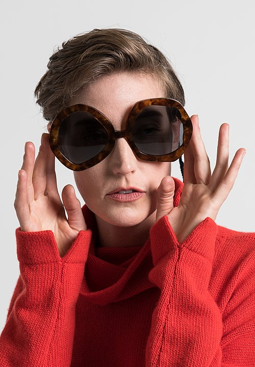 Daniela Gregis Large Melagrana Glasses in Tortoise Shell