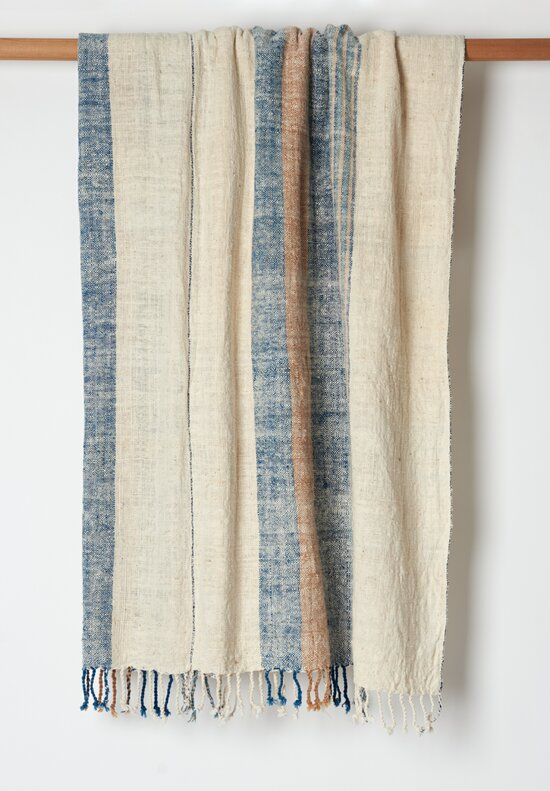 Distant Echo Cotton Hand-Spun Stripe Natural Throw