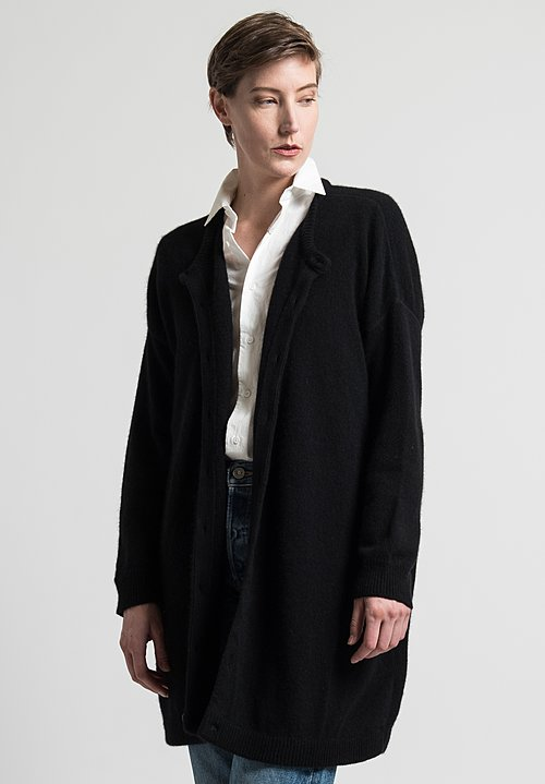 Kaval Long Oversize Cardigan in Black
