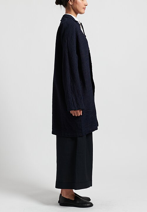 Kaval Long Woven Jacket in Indigo