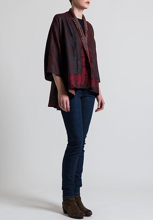 Mieko Mintz 2-Layer Printed Kimono Jacket in Red/ Black