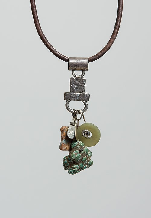 Holly Masterson Natural Turquoise, Snakeskin Jasper, Green Jade, Silver Adornment