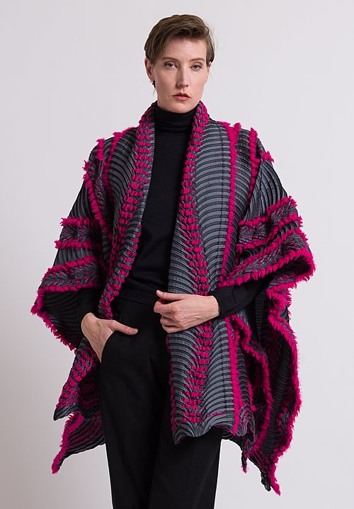 Issey Miyake Eagle Poncho in Graphite/ Pink