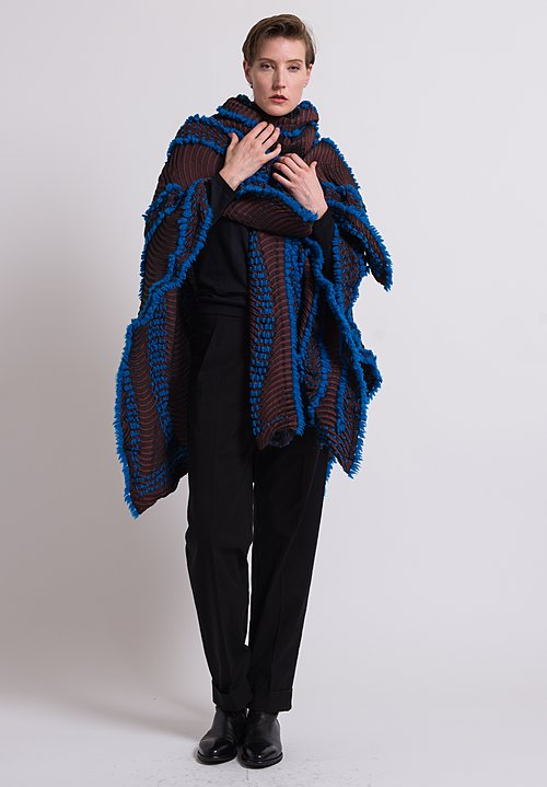 Issey Miyake Eagle Poncho in Bronze/ Blue