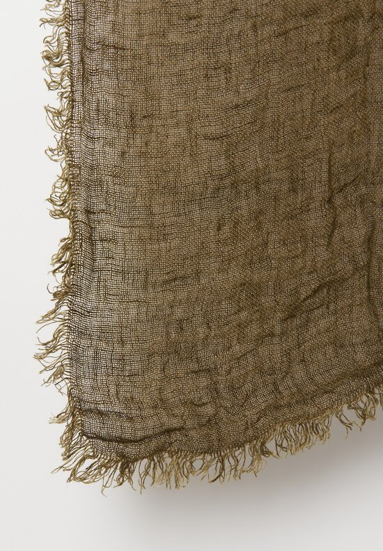 Maison de Vacances Washed Linen Fringed Gauze Throw in Kaki
