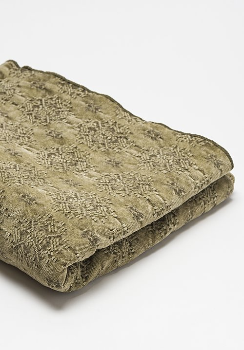 Maison de Vacances Stone Washed Jacquard Throw in Kilim Kaki