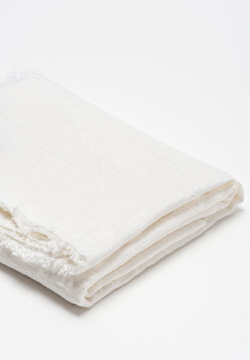 Maison de Vacances Crumpled Washed Linen Throw in Blanc / Ecru