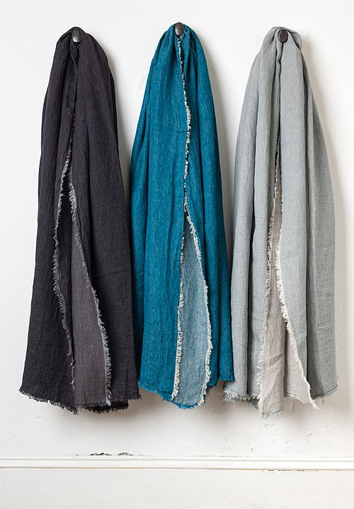 Maison de Vacances Crumpled Washed Linen Throw in Nuage / Givré