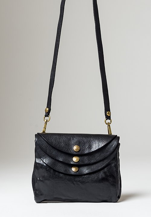 Campomaggi Medium Three Pocket Shoulder Bag in Black