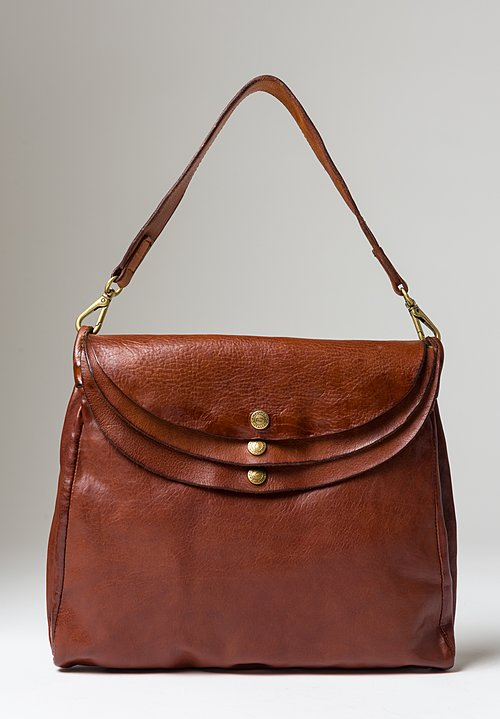 Campomaggi Large Three Pocket Shoulder Bag in Cognac