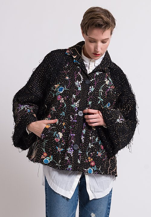By Walid Piano Shawl Marion Jacket in Black/ Birds