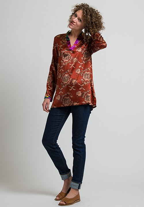 Lisa Corti Silk Eli Top in Florence Rust