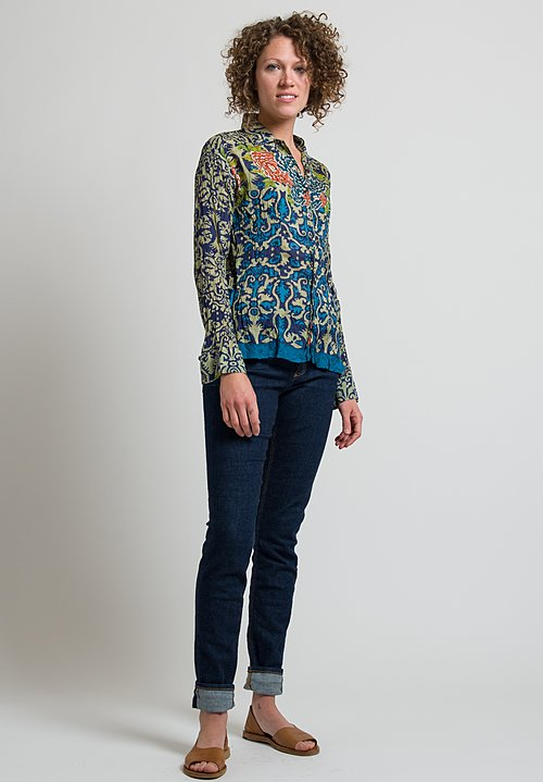 Lisa Corti Wrinkled Peekai Shirt in Damask Corolla Cold