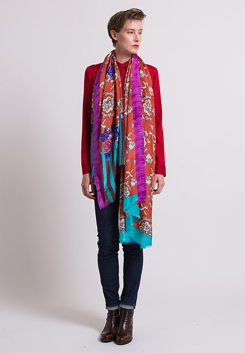 Lisa Corti Frayed Edge Silk Scarf Printed in Florence Rust