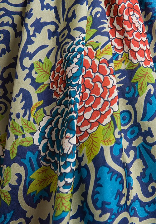 Lisa Corti Silk Scarf Printed in Damask Corolla Cold