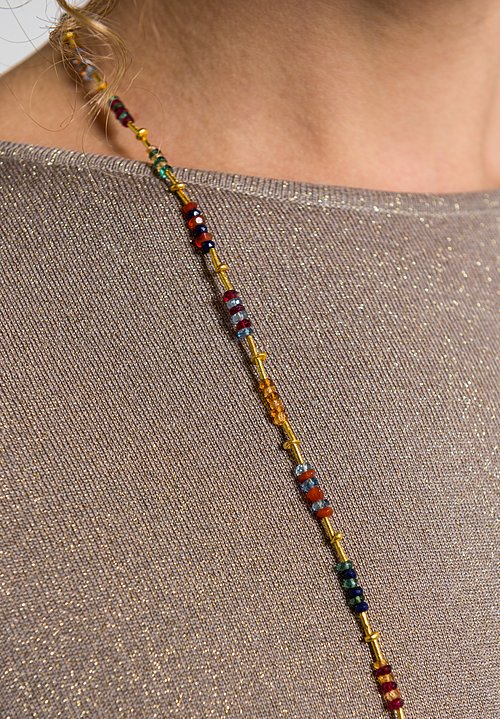 Greig Porter 18K, Sapphire and Aquamarine Faceted Bead Necklace