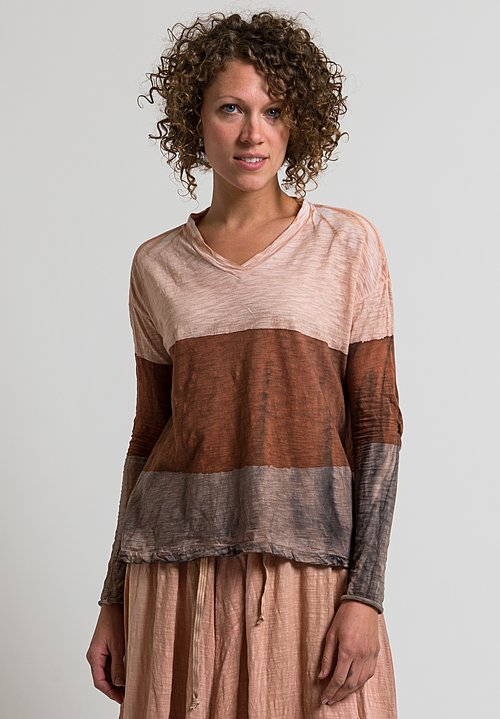 Gilda Midani V-Neck Trapeze Tee in Stripes Brick, Cement + Clay
