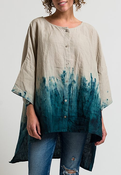 Gilda Midani Linen Super Shirt in Jungle Emerald