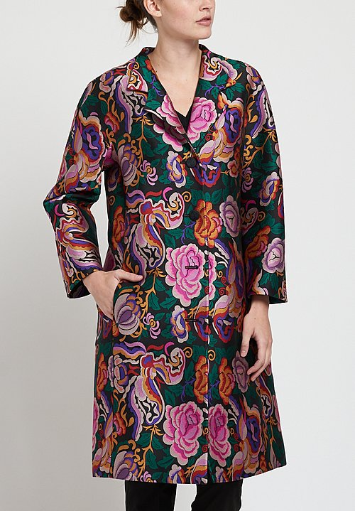 Etro Rose and Butterfly Print Coat in Black