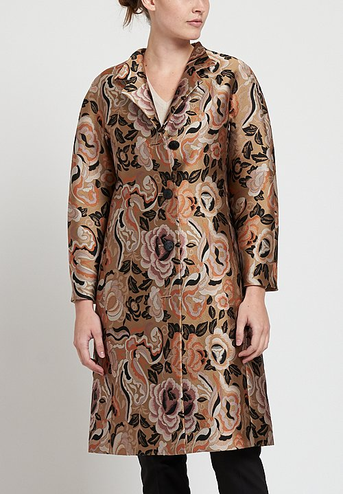 Etro Rose and Butterfly Print Coat in Tan