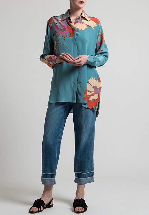 Etro Oversized Floral Print Blouse in Light Blue