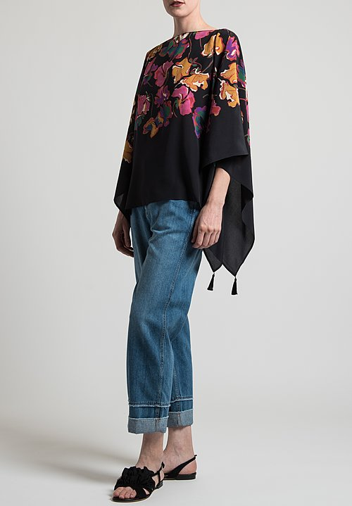 Etro Floral Poncho Top in Black