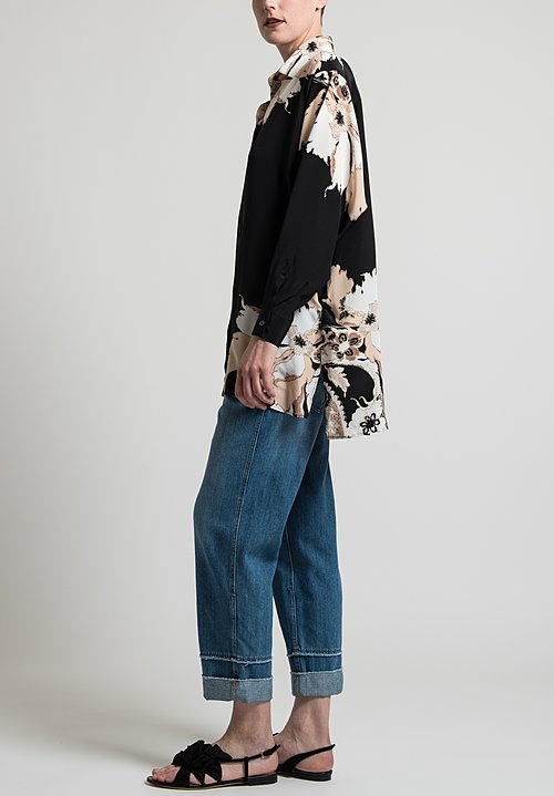 Etro Oversized Floral Print Blouse in Black