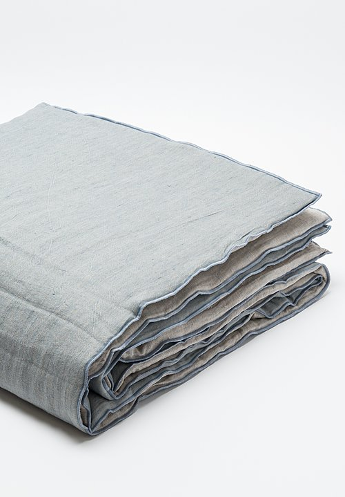 Maison de Vacances Crumpled Washed Linen Queen Duvet in Nuage/ Givré