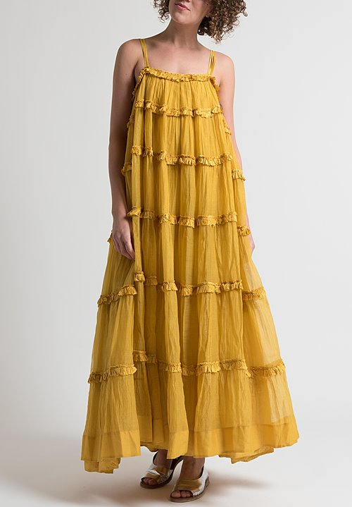 Péro Long Ruffle Dress in Yellow