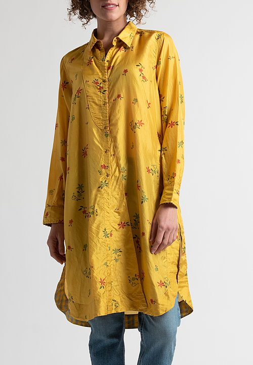 Péro Floral Button-Down Tunic in Yellow