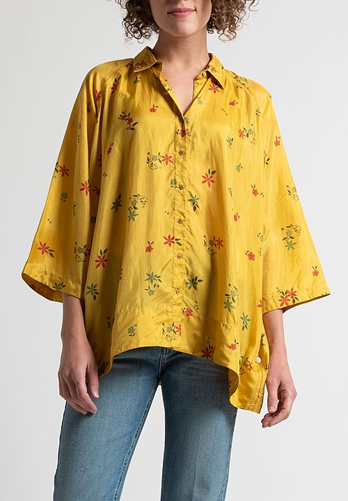Péro Oversized Floral Blouse in Yellow