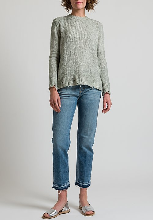 Avant Toi Distressed Knit Sweater in Salice