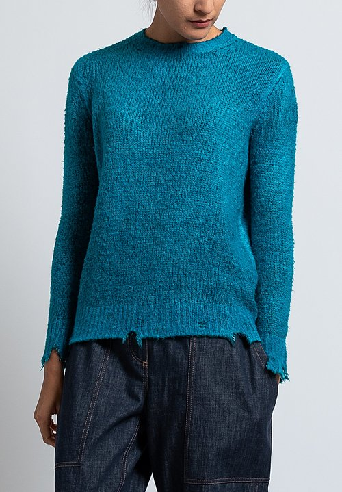 Avant Toi Distressed Knit Sweater in Turchese